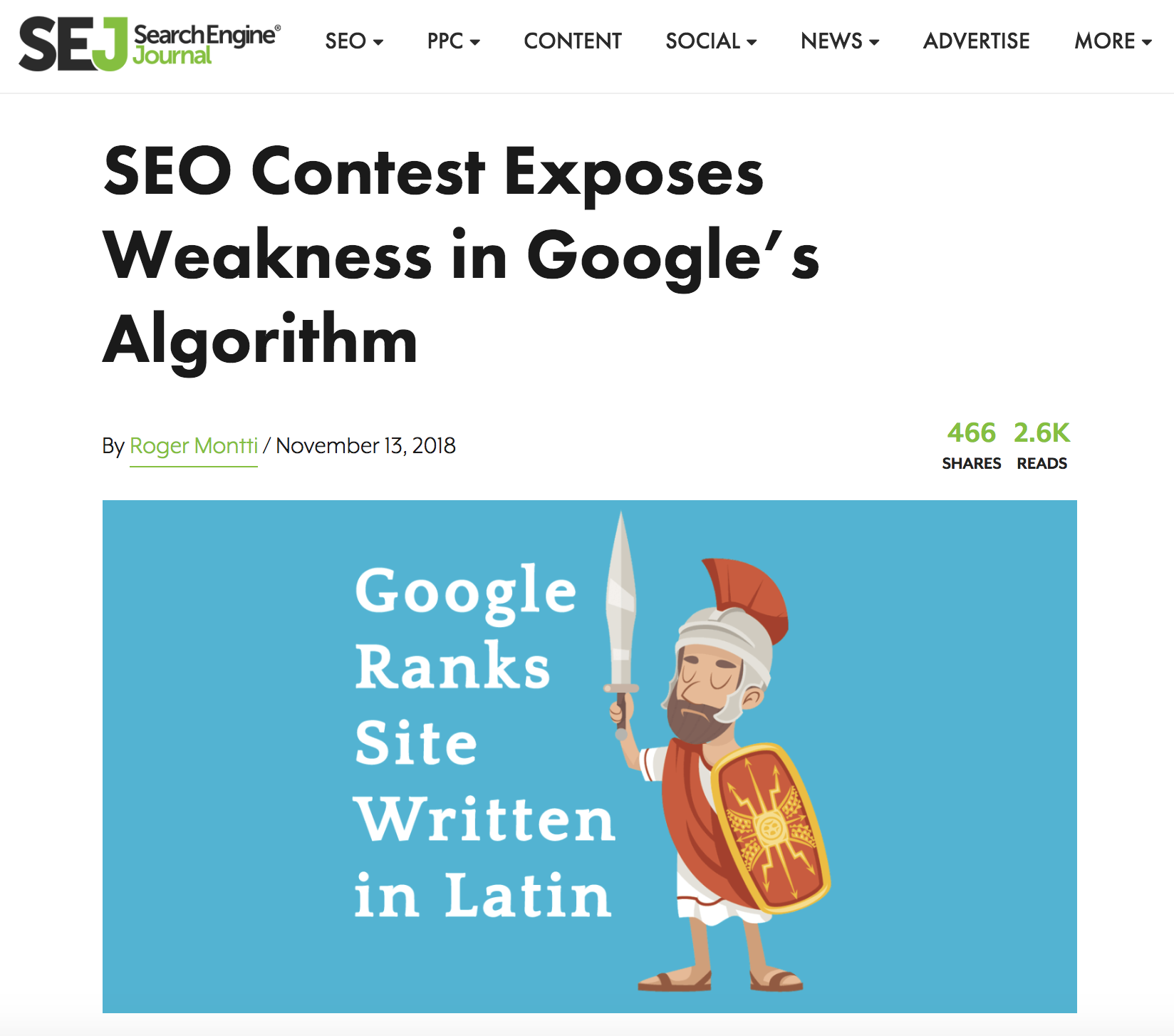 Google ranks site written in latin